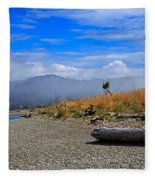 A Foggy Morning At Whiffin Spit Fleece Blanket
