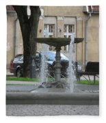A Fountain In Silute Lithuania Fleece Blanket