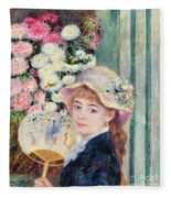 A French Girl With A Fan Fleece Blanket
