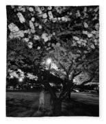 A Ghost In The Cherry Blossoms Fleece Blanket