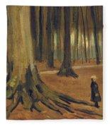A Girl In A Wood Fleece Blanket