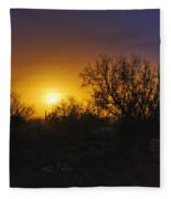 A Golden Saguaro Sunrise Fleece Blanket