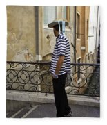 A Gondolier In Venice Fleece Blanket