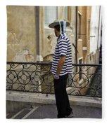 A Gondolier In Venice Fleece Blanket