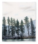 A Line Of Trees In Winter  Fleece Blanket