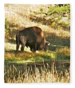 A Lone Bison In Yellowstone 9467 Fleece Blanket