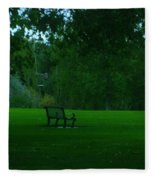 A Lonely Autumn Bench  Fleece Blanket