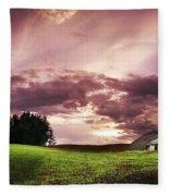 A Lonely Farm Building In An Open Field Fleece Blanket