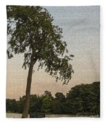 A Lonely Park Bench Fleece Blanket