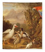 A Macaw - Ducks - Parrots And Other Birds In A Landscape Fleece Blanket