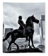 A Man A Horse And A City Fleece Blanket