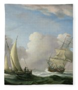 A Man-o'-war In A Swell And A Sailing Boat Fleece Blanket