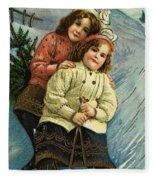 A Merry Christmas Postcard With Sledding Girls Fleece Blanket