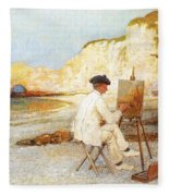 A Painter By The Sea Side Fleece Blanket