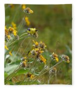 A Pair Of Goldfinches In Spokane Fleece Blanket