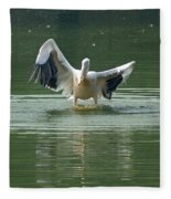 A Pelican Drying Its Wings After Landing In The Lake Inside Delhi Zoo Fleece Blanket