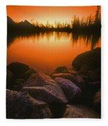 A Pond At Sunset, British Columbia Fleece Blanket