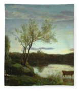 A Pond With Three Cows And A Crescent Moon Fleece Blanket