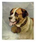 A Portrait Of A St. Bernard Fleece Blanket
