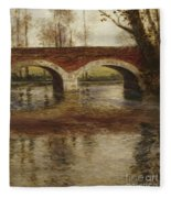 A River Landscape With A Bridge  Fleece Blanket