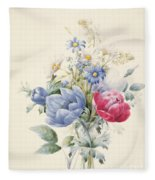A Rose Anemone Mignonette And Daisies Fleece Blanket