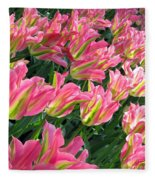 A Sea Of Pink Tulips. Square Format Fleece Blanket