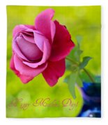 A Single Rose II Mother's Day Card Fleece Blanket