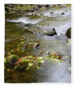 A Small Dam Of Golden Leaves  Fleece Blanket