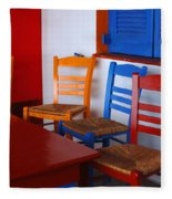 Colorful Table And Chairs Greece Fleece Blanket