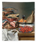 A Still Life Of A Fish Trout And Baby Lobsters Fleece Blanket