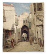 A Street In Jerusalem Fleece Blanket