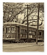 A Streetcar Named St. Charles Sepia Fleece Blanket