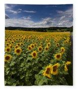 A Sunny Sunflower Day Fleece Blanket