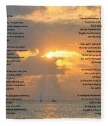 A Sunset A Poem - Victor Hugo Fleece Blanket