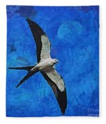 A Swallow And The Moon Fleece Blanket