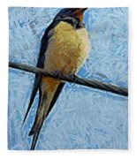 A Swallow On A Wire Fleece Blanket
