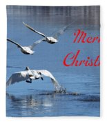A Swan Christmas Fleece Blanket