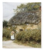 A Thatched Cottage Near Peaslake Surrey Fleece Blanket