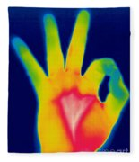 A Thermogram Of A Hand Giving The Ok Fleece Blanket