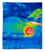 A Thermogram Of A Man Working On A Car Fleece Blanket