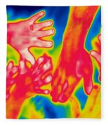 A Thermogram Of A Pile Of Human Hands Fleece Blanket