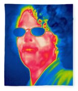 A Thermogram Of A Woman With Glasses Fleece Blanket