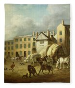 A Town Scene  Fleece Blanket
