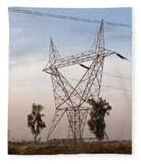 A Transmission Tower Carrying Electric Lines In The Countryside Fleece Blanket