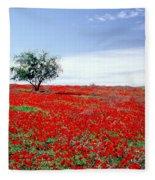 A Tree In A Red Sea Fleece Blanket