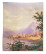 A View Of Scherzingen On The Lake Of Thun Fleece Blanket