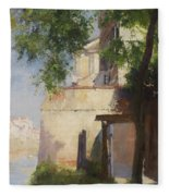 A View Of Venice From A Terrace Fleece Blanket