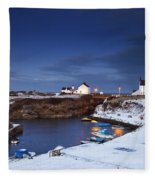 A Village On The Coast Seaton Sluice Fleece Blanket