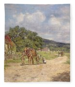 A Village Scene Fleece Blanket