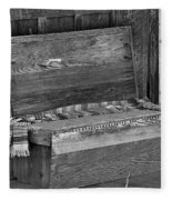 A Weathered Bench Black And White Fleece Blanket